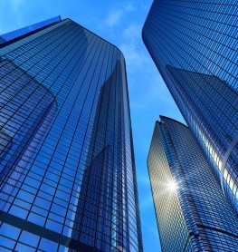 Beautiful view of modern reflective office buildings