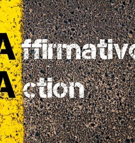 Concept image of Business Acronym AA Affirmative Action written over road marking yellow paint line.