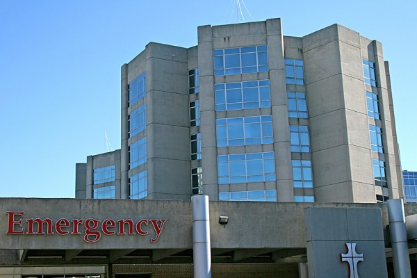 entrance to emergency room at an urban hospital